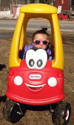"""""""Riding along in my automobile"""" Autumn, age 12 months"""